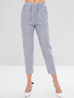 Mid Waist Pockets Striped Pants - Mist Blue L