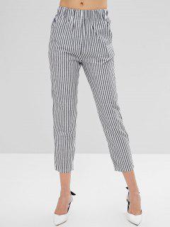 Pantalon Droit Taille Basse à Rayures - Noir M