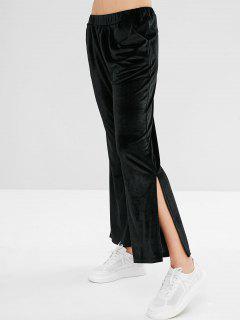 Velvet Slit Boot Cut Pants - Black L