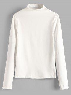 Camiseta Manga Larga Cuello Mock - Blanco
