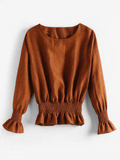 Smocked Ruffle T-Shirt - Hellbraun