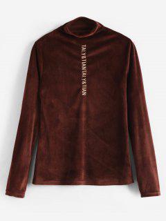 Letter Embroidered Velvet T-shirt - Brown M