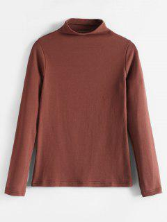 Cuello Falso Manga Larga Camiseta - Marrón M