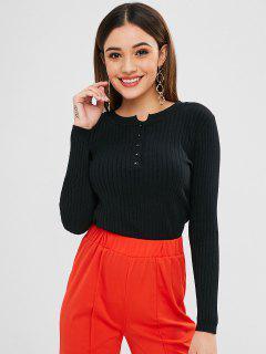 Half Button Ribbed Jumper Sweater - Black