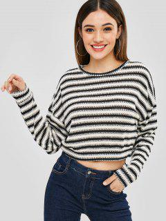 Striped Loose Crop Sweater - Multi-a L