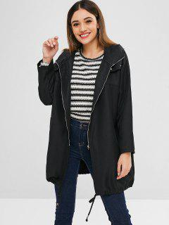 Zip Up Hooded Oversized Trench Coat - Black