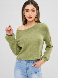 Knitted Sweater With Drop Shoulder - Dark Sea Green M