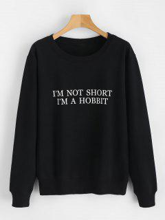 Letter Graphic Long Sleeve Sweatshirt - Black L