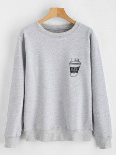 I Like Black Coffee Graphic Sweatshirt - Light Gray M