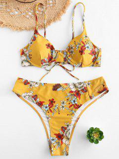 ZAFUL Ensemble De Bikini Fleuri à Armature De Grande Taille - Jaune Soleil 3x