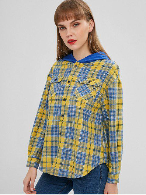 chic ZAFUL Button Up Plaid Hooded Blouse - YELLOW S Mobile