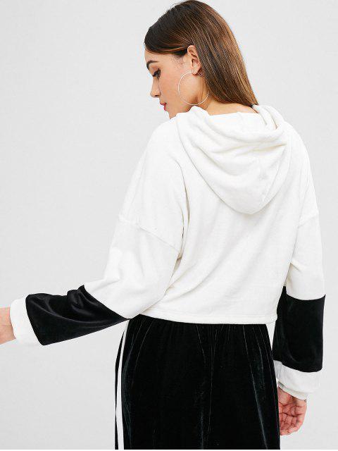 online ZAFUL Drop Shoulder Velvet Hoodie - WHITE M Mobile