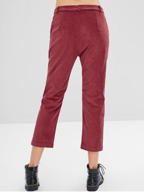 shop ZAFUL Zip Fly Corduroy Pencil Pants - RED WINE L Mobile