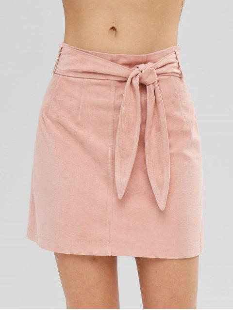 womens ZAFUL Short Faux Suede Tied Skirt - DEEP PEACH M Mobile