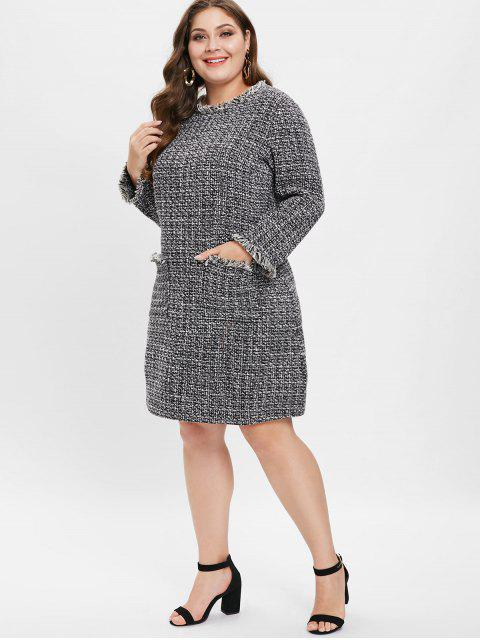 latest Heathered Plus Size Tweed Dress - BLACK 1X Mobile