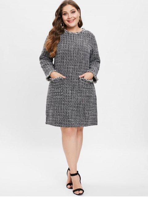 fancy Heathered Plus Size Tweed Dress - BLACK 3X Mobile