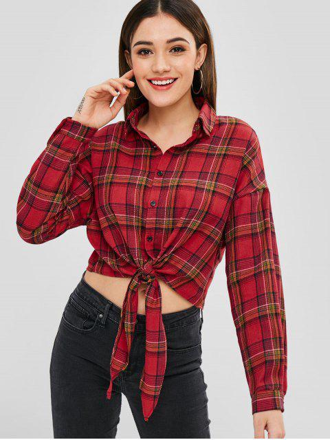 Blusa Casual A Cuadros Con Nudo Delantero - Rojo XL Mobile