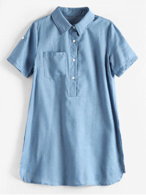 new Side Slit Mini Pocket Shirt Dress - DENIM BLUE XL Mobile