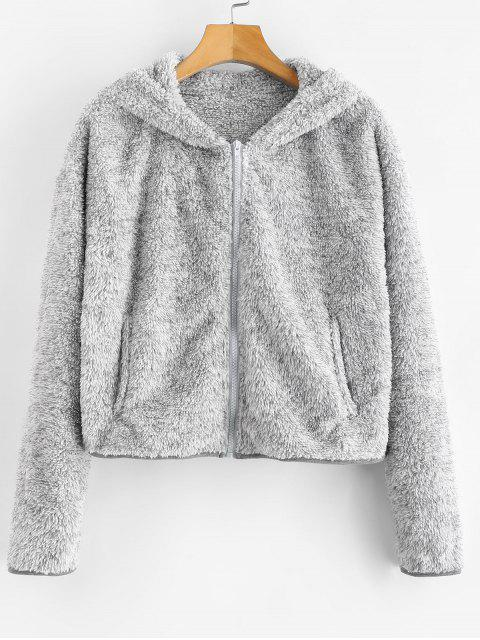 ZAFUL Zip Up Fluffy Faux Shearling Teddy Hoodie - Nube Gris L Mobile