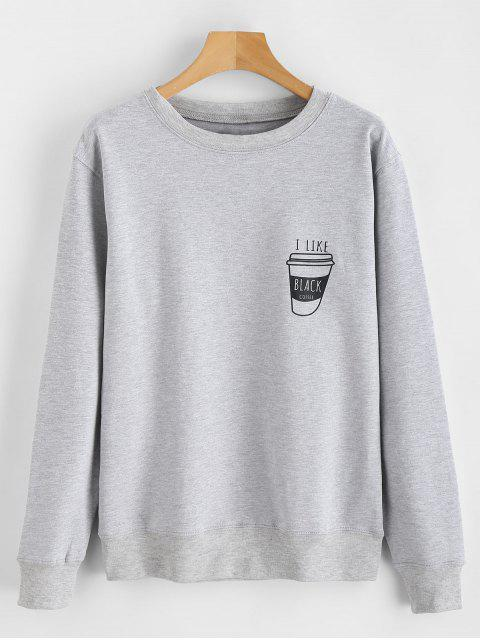best I Like Black Coffee Graphic Sweatshirt - LIGHT GRAY 2XL Mobile