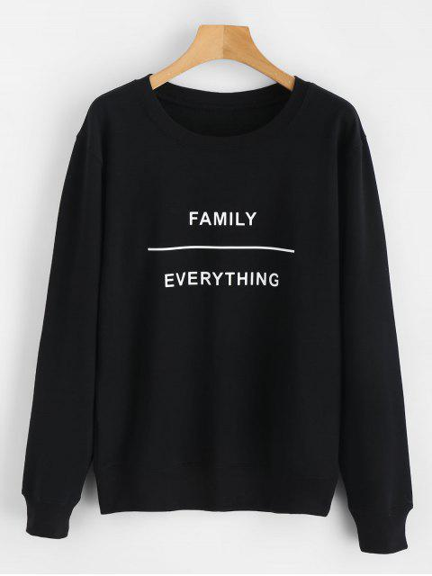 fancy Family Everything Graphic Sweatshirt - BLACK S Mobile