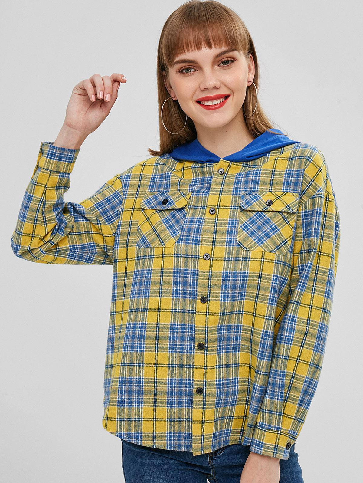 ZAFUL Button Up Plaid Hooded Blouse