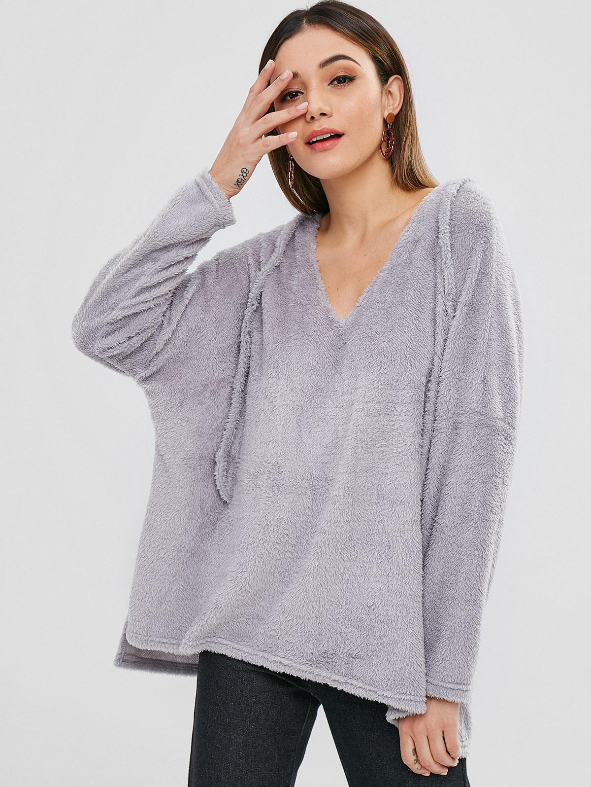 ZAFUL Side Slit Fluffy High Low Hoodie thumbnail