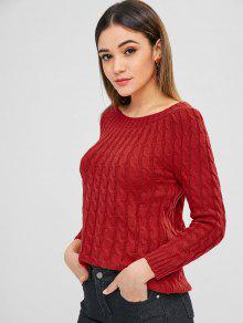 Raglan Sleeve Cable Knitted Sweater