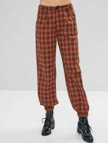 ZAFUL Plaid Zip Fly Jogger Pants - الظلام الكاكي L