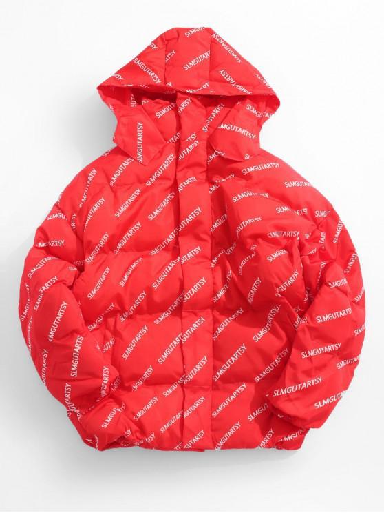 women Contrast Letter Puffer Jacket - RED 2XL