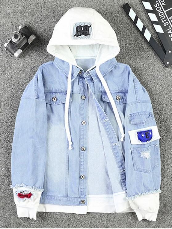 chic Casual Faux Pocket Ripped Letter Number Applique Hooded Jacket - LIGHT BLUE L