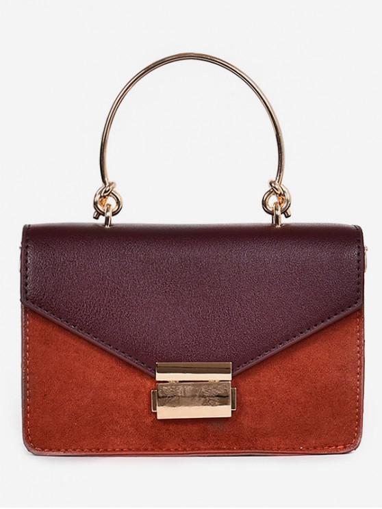 ladies PU Metal Hasp Design Handbag - BRIGHT ORANGE