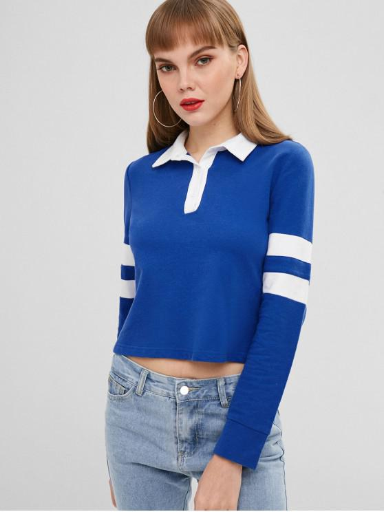 ZAFUL Sweat-shirt Rayé à Demi-Bouton - Bleu Cobalt L