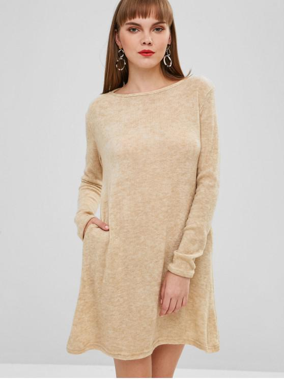 Mini Robe Pull en Couleur Unie - Brun Tan S
