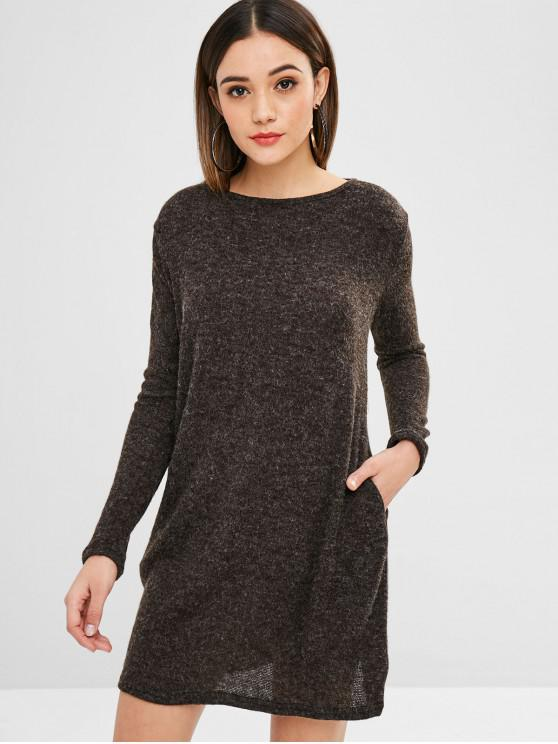 womens Solid Color Mini Sweater Dress - TAUPE L