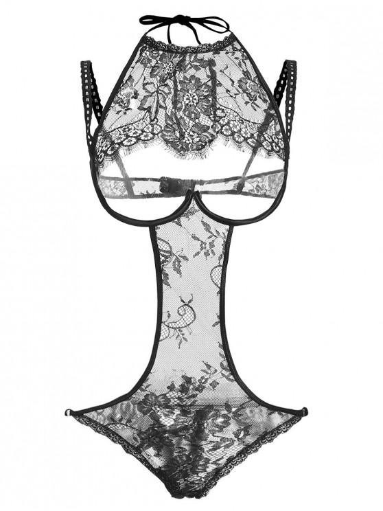 lady Underwire Cutout Eyelash Lingerie Teddy - BLACK ONE SIZE