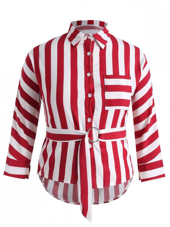 new Plus Size Striped High Low Belted Shirt - RED 1X