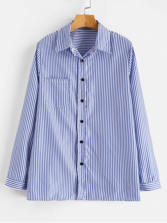hot Front Pocket Striped Shirt - OCEAN BLUE S