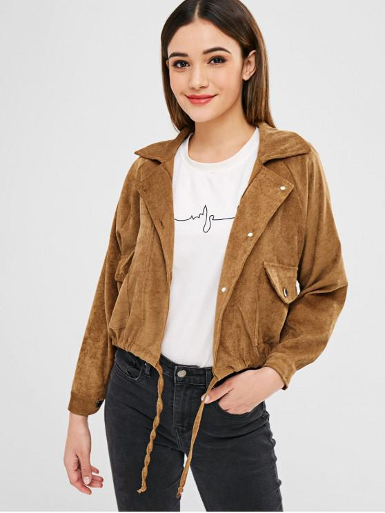 best Raglan Sleeves Pockets Corduroy Jacket - CARAMEL S