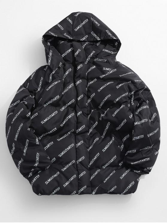 affordable Contrast Letter Puffer Jacket - BLACK M