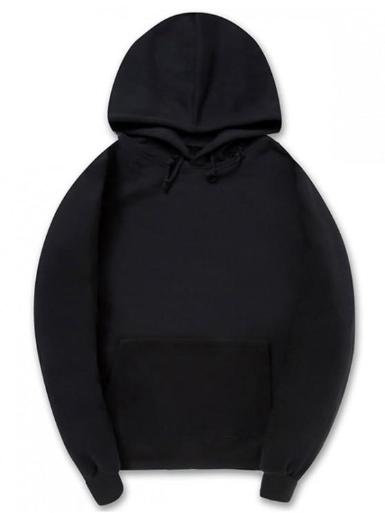 unique Casual Kangaroo Pocket Fleece Solid Color Hoodie - BLACK L