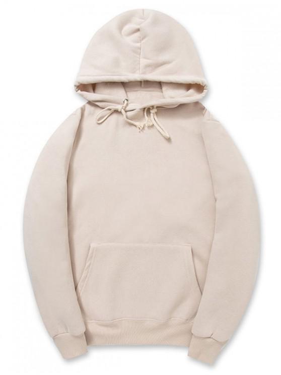 buy Casual Kangaroo Pocket Fleece Solid Color Hoodie - CHAMPAGNE 2XL