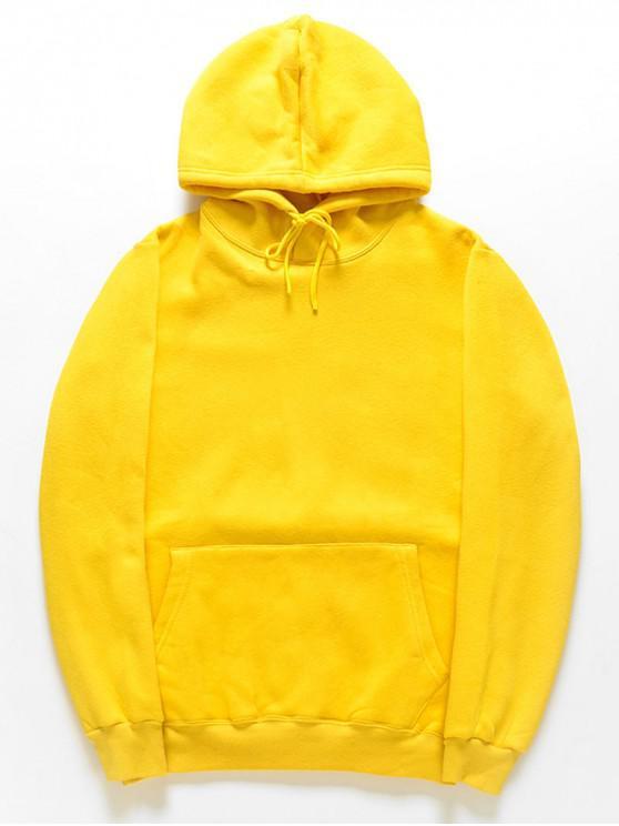 women Casual Kangaroo Pocket Fleece Solid Color Hoodie - RUBBER DUCKY YELLOW 2XL