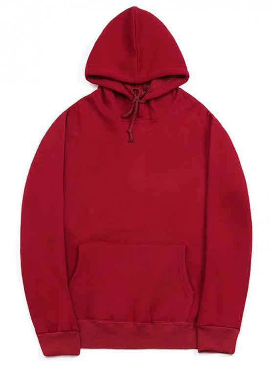 trendy Casual Kangaroo Pocket Fleece Solid Color Hoodie - RED WINE L