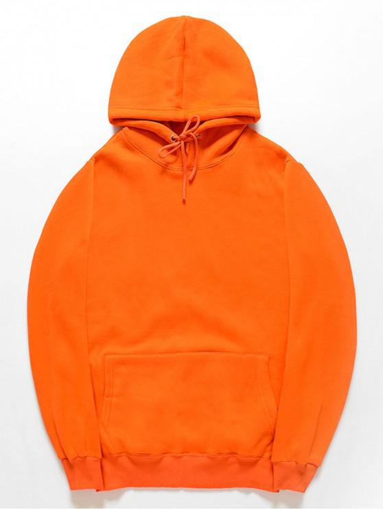 fancy Casual Kangaroo Pocket Fleece Solid Color Hoodie - ORANGE L