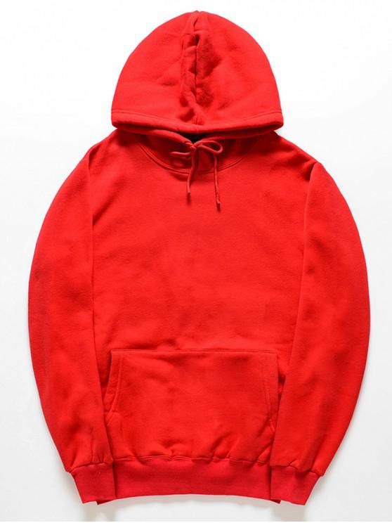 womens Casual Kangaroo Pocket Fleece Solid Color Hoodie - RED 2XL
