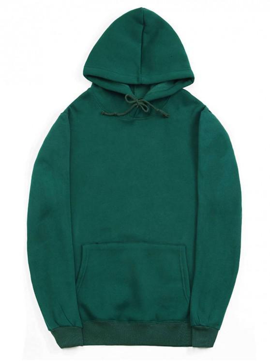 women's Casual Kangaroo Pocket Fleece Solid Color Hoodie - MEDIUM SEA GREEN XL