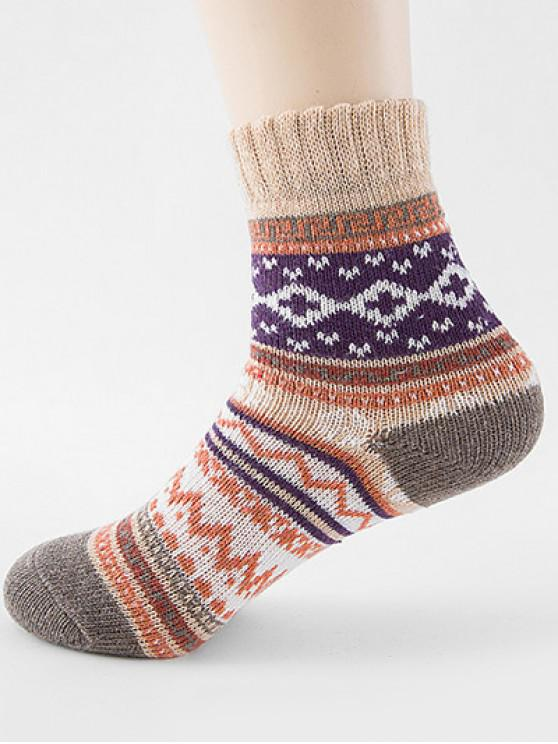 best Ethnic Style Printing Thick Socks - BEIGE