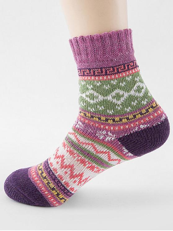 fashion Ethnic Style Printing Thick Socks - PURPLE