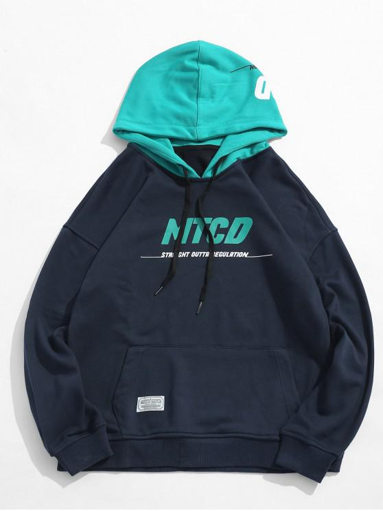 fancy Color Block Letter Pocket Casual Hoodie - CADETBLUE 2XL